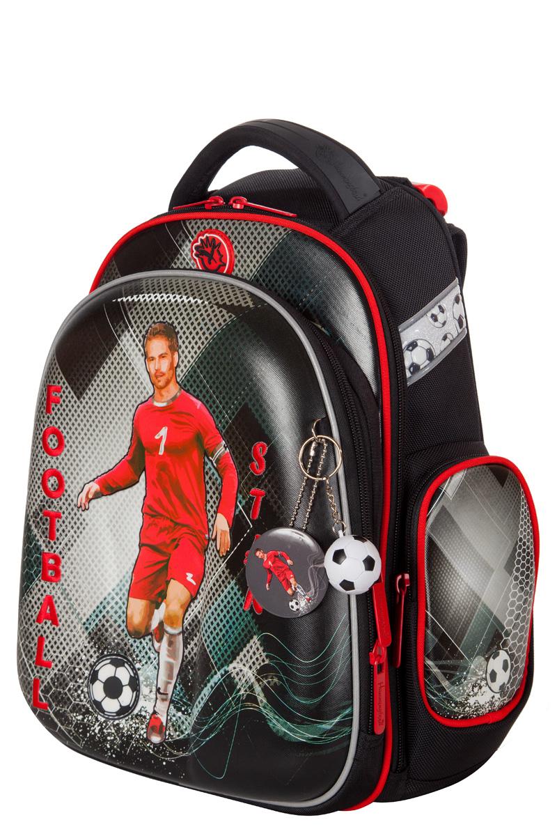 Ранец для первоклассника Hummingbird TK60 Футбол серый с мешком для обуви + пенал, - фото 1